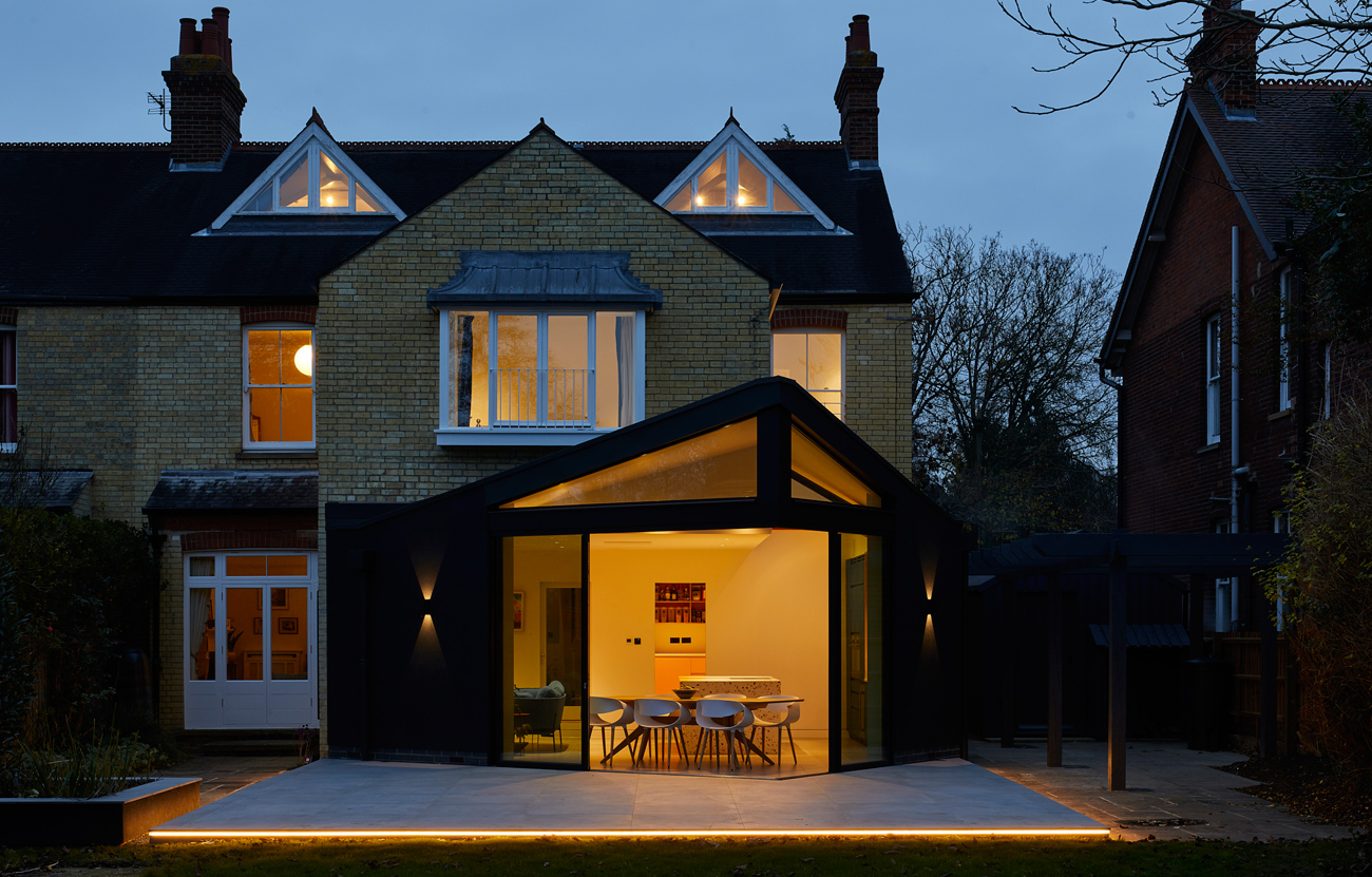 Contemporary extension at night