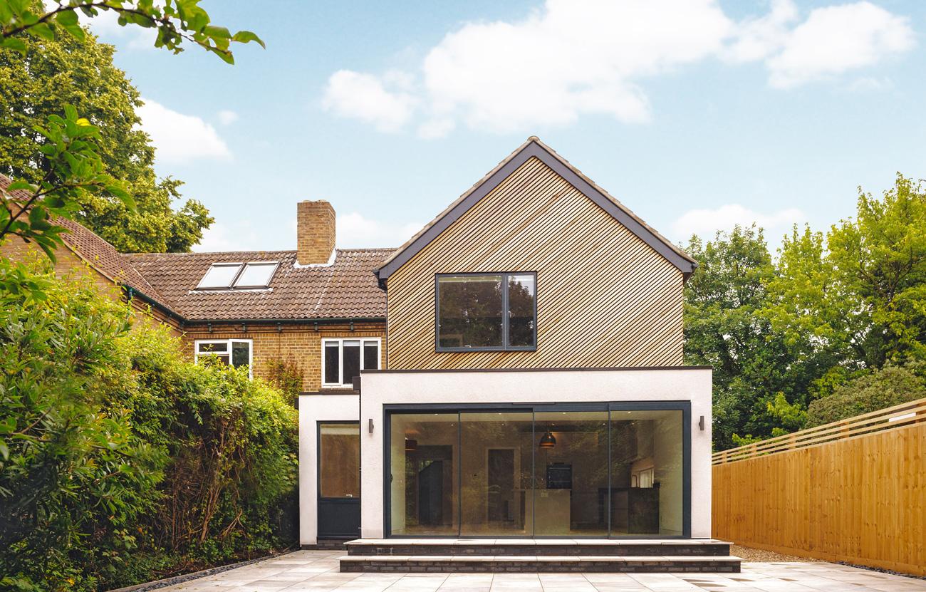 Modern extension with diagonal cedar in cambridge