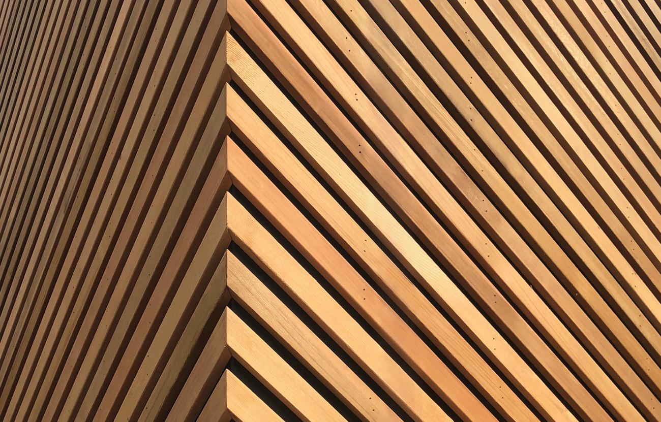 Diagonal cedar cladding