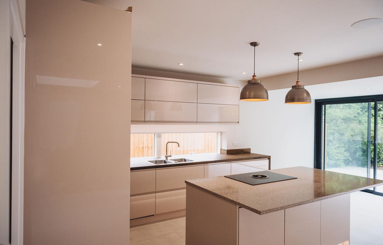 Modern kitchen with downdraft hob