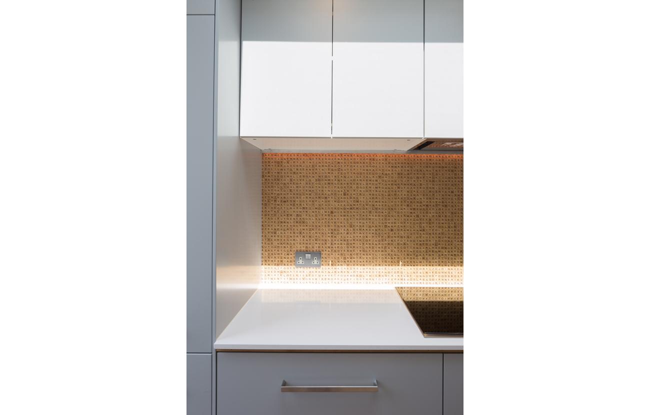 Quirky scrabble kitchen splashback