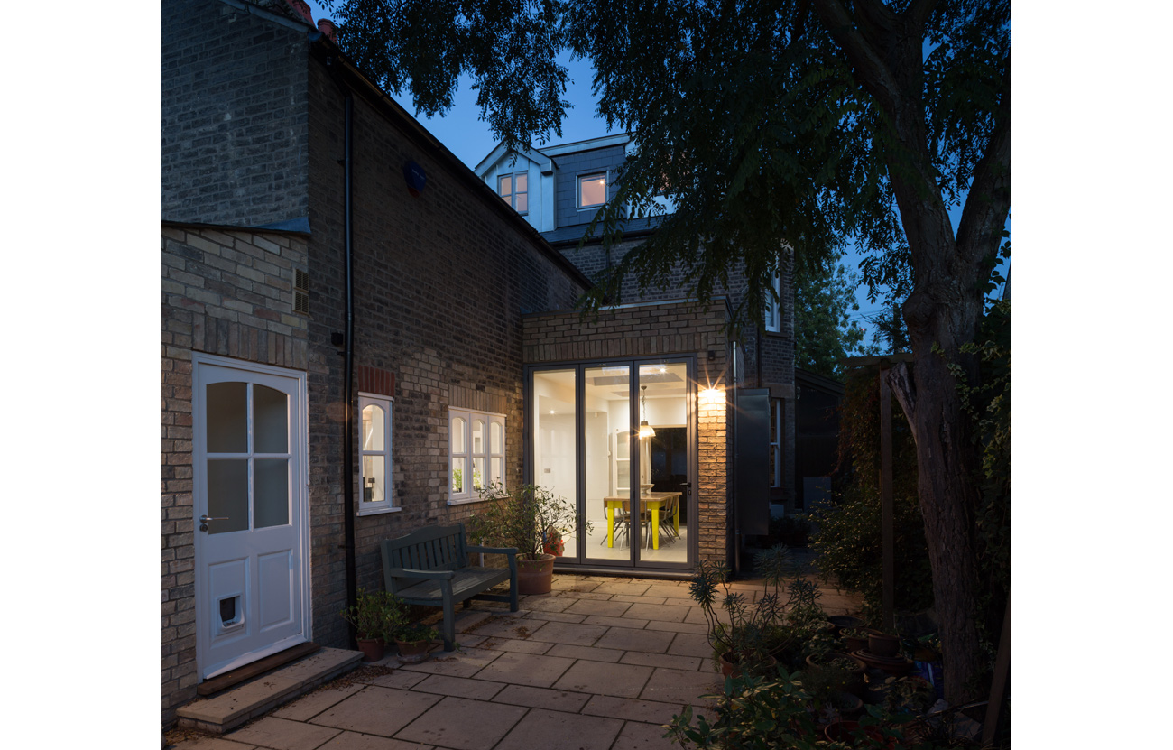 Rear view of cambridge extension at night